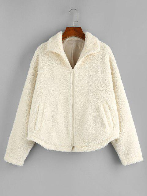 ZAFUL Faux Shearling Drop Shoulder Fluffy Teddy Coat - اللون البيج S Mobile