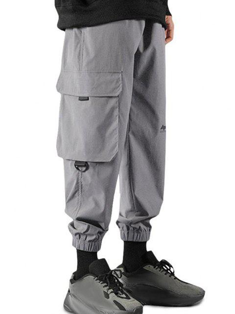 Buchstabe Druck Klappen Tasche Beam Füße Hose - Dunkelgrau XL Mobile