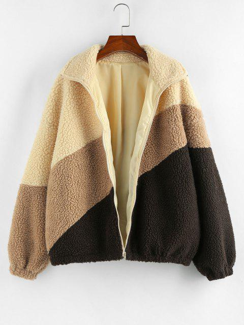 ZAFUL Drop Shoulder Colorblock Teddy Coat - دب بنى S Mobile