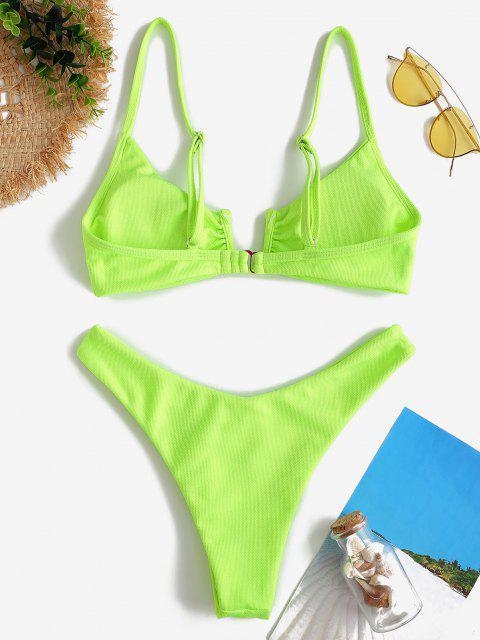 women's ZAFUL Neon Textured U-wire High Cut Bikini Swimwear - GREEN M Mobile