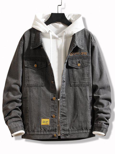 shops Slogan Embroidery Flap Pocket Jean Jacket - DARK GRAY XS Mobile