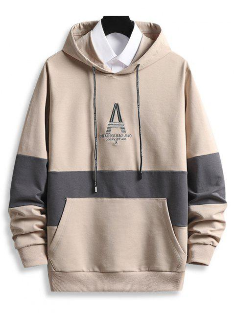 online Letter Embroidered Front Pocket Contrast Hoodie - CHAMPAGNE M Mobile
