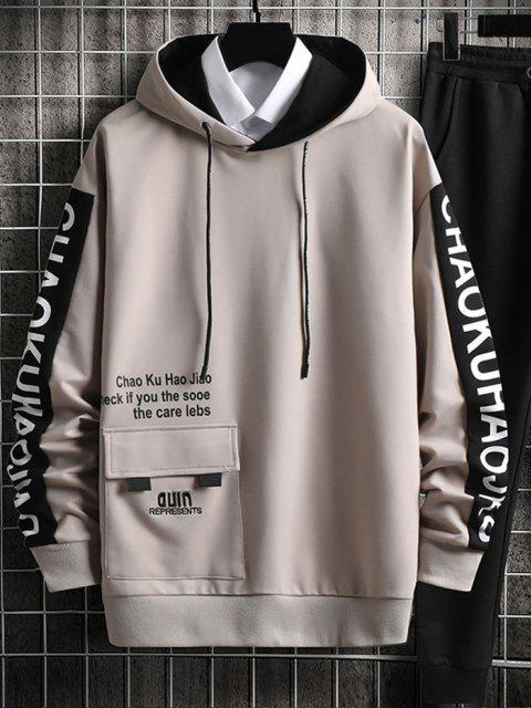 new Letter Embroidered Cargo Pocket Graphic Hoodie - VANILLA S Mobile