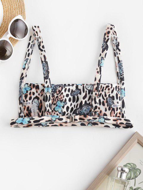 ZAFUL Ribbed Leopard Butterfly Print Bikini Top - متعدد S Mobile