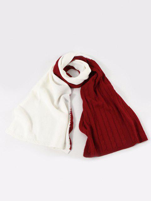 online Two Tone Contrast Knitted Scarf - LAVA RED  Mobile