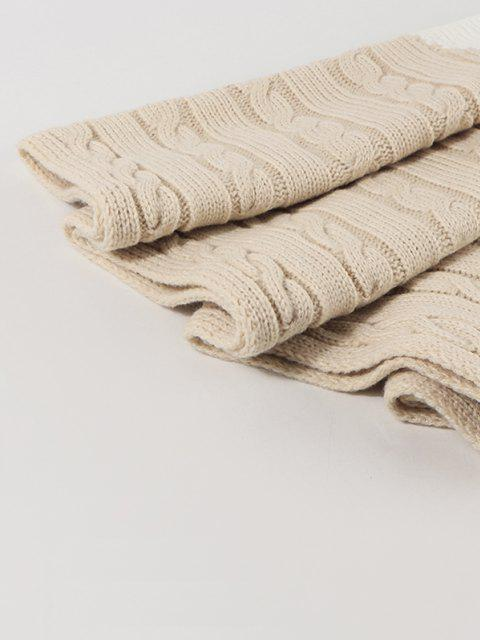 new Two Tone Contrast Knitted Scarf - BEIGE  Mobile