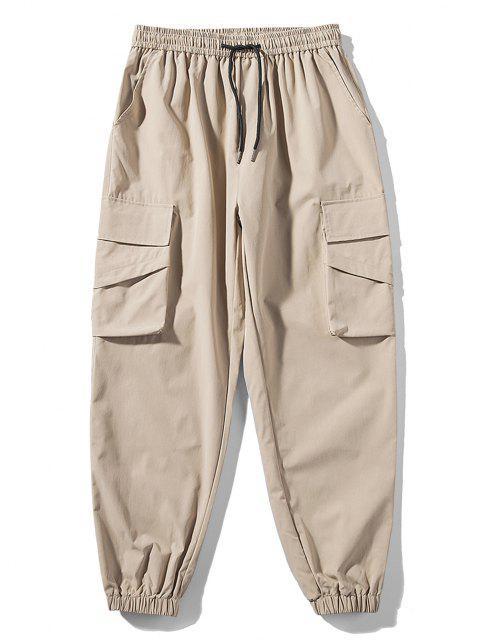 Pantalones de Bolsillo de Color Sólido y Cordón - Caqui XL Mobile