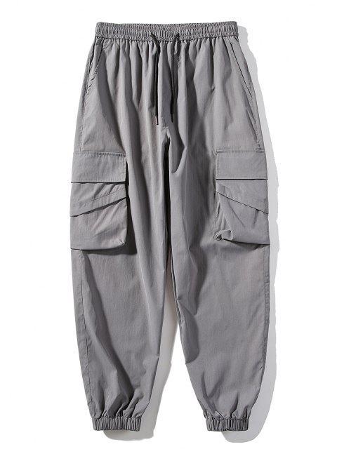 Pantalones de Bolsillo de Color Sólido y Cordón - Gris Oscuro XS Mobile