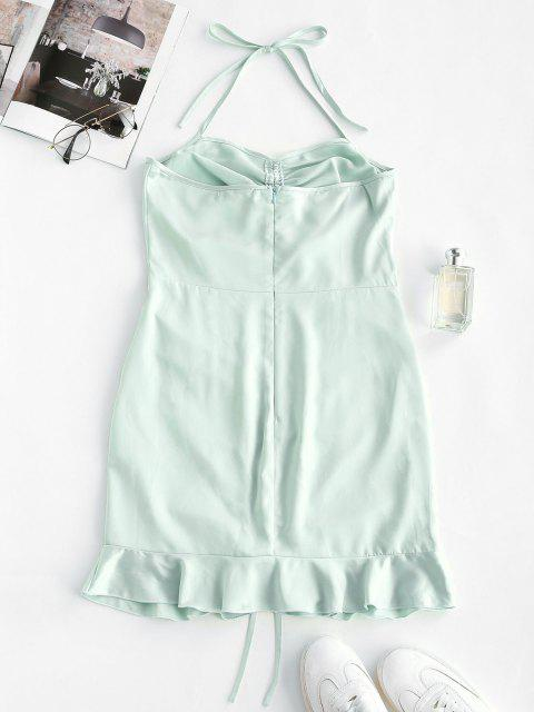hot Halter Cinched Flounce Bodycon Dress - LIGHT GREEN M Mobile