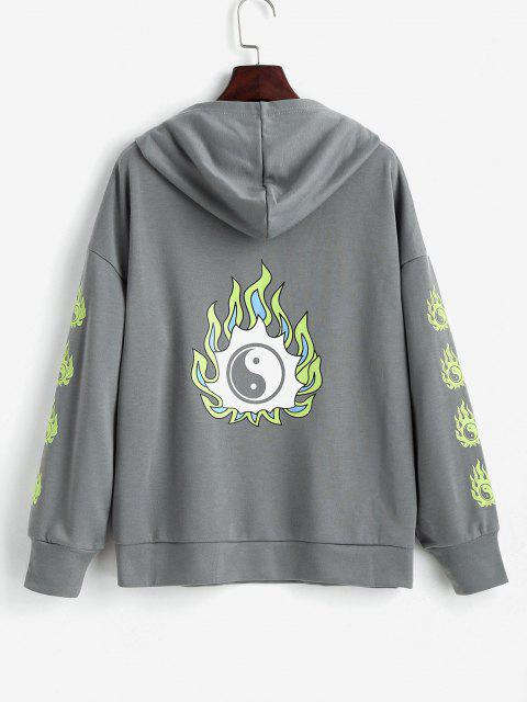 Tai Ji Flame Print Drop Shoulder Hoodie - اللون الرمادي L Mobile