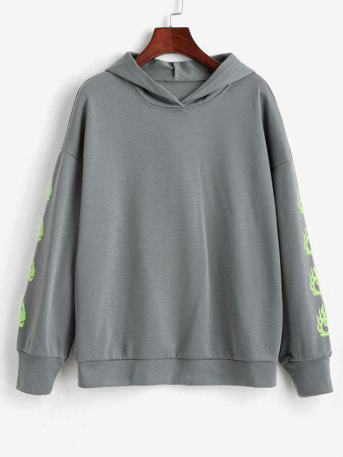 shop Tai Ji Flame Print Drop Shoulder Hoodie - GRAY M Mobile