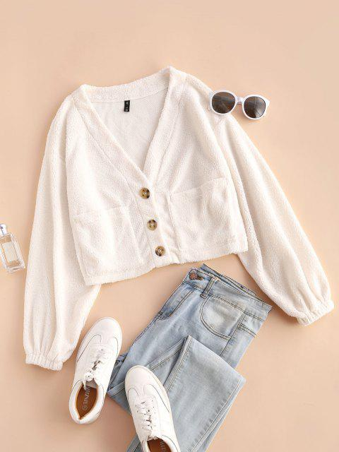 outfits ZAFUL Faux Fur Shearling Pocket Short Coat - WHITE S Mobile