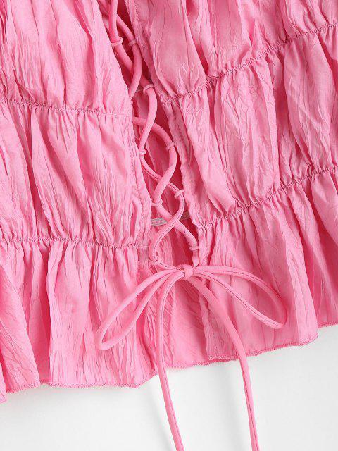 Corsage Péplum avec Lacets - Rose clair S Mobile