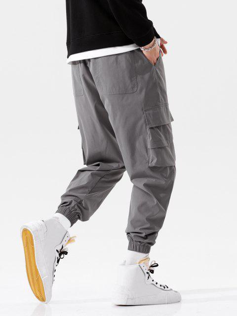 ladies Solid Flap Pocket Beam Feet Pants - DARK GRAY L Mobile