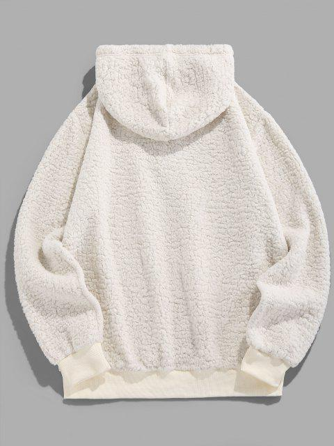 chic ZAFUL Letter Embroidered Faux Shearling Fluffy Hoodie - WHITE S Mobile