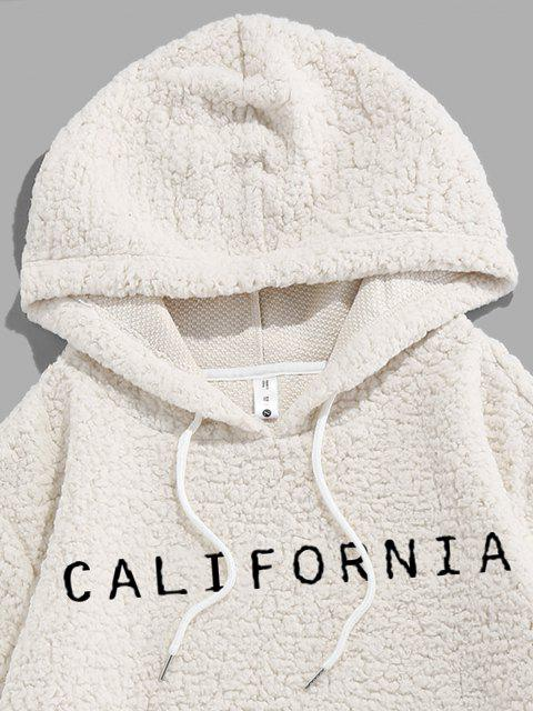 affordable ZAFUL Letter Embroidered Faux Shearling Fluffy Hoodie - WHITE 2XL Mobile