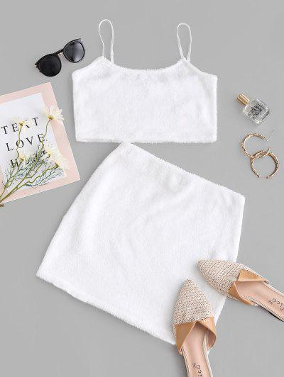 ZAFUL Faux Fur Crop Top And Mini Skirt Set - White S