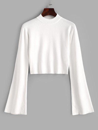 Crew Neck Flare Sleeve Cropped Sweater - Milk White