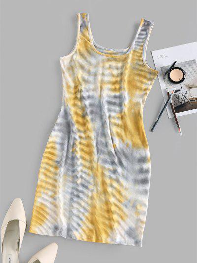 ZAFUL Ribbed Tie Dye Bodycon Tank Dress - Light Yellow S