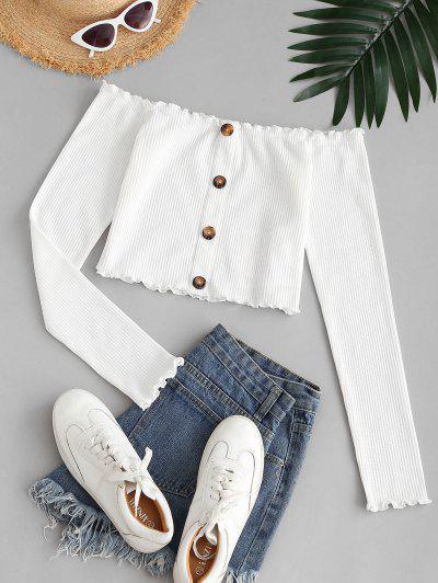 ZAFUL Lettuce Trim Off Shoulder Crop T Shirt - White M