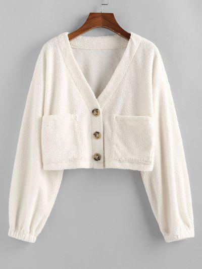 ZAFUL Faux Fur Shearling Pocket Short Coat - White M