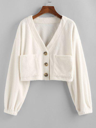 ZAFUL Faux Fur Shearling Pocket Short Coat - White L