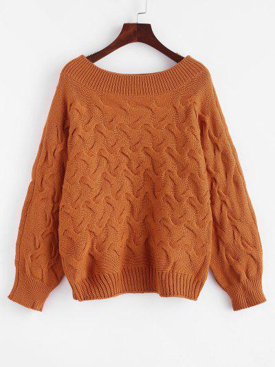 Batwing Cable Knit Pullover Sweater - Light Brown