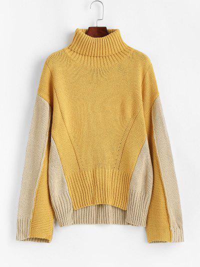 ZAFUL Colorblock Turtleneck Drop Shoulder High Low Sweater - Multi