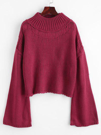 ZAFUL Flare Sleeve Mock Neck Sweater - Red Wine
