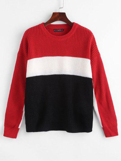 Color Block Chunky Knit Sweater - Multi
