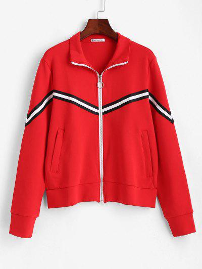 ZAFUL Striped Zipper Pocket Jacket - Red M