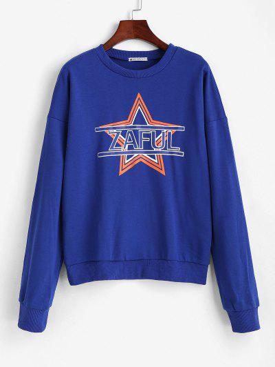 ZAFUL Star Drop Shoulder Sweatshirt - Blue L