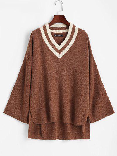 Asymmetrischer Schlitz Pullover V Ausschnitt Sweater - Braun