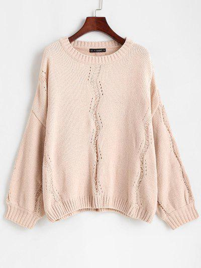 ZAFUL Drop Shoulder Shining Detail Pullover Sweater - Pink