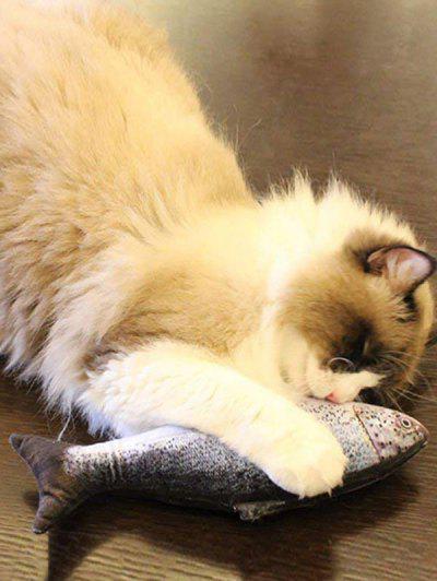 Electric Fish Jumping Pet Plush Cat Toy - ライトグレー