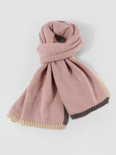 Winter Colorblock Knitted Scarf - Light Pink