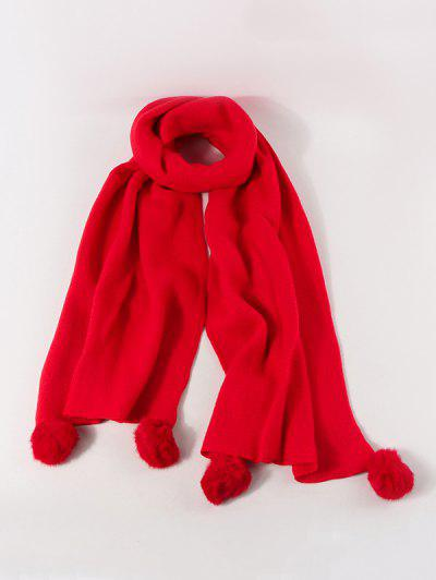 Knitted Faux Cashmere Pom Pom Scarf - Lava Red