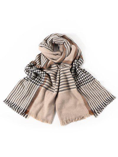 Faux Cashmere Houndstooth Scarf - Light Khaki