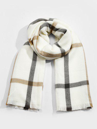 Plaid Faux Cashmere Long Scarf - White