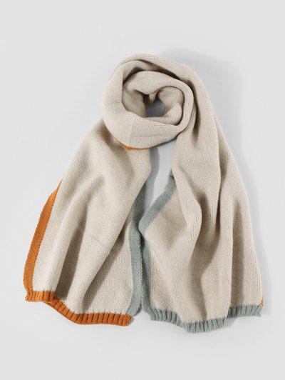Winter Colorblock Knitted Scarf - Beige