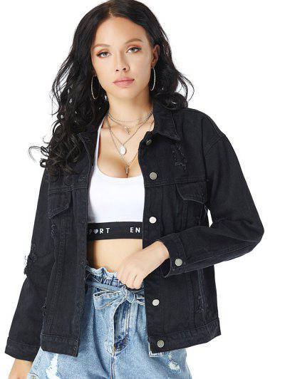 Distressed Drop Shoulder Chest Pocket Denim Jacket - Black L