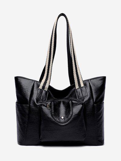 PU Striped Handle Zipper Tote Bag - Black