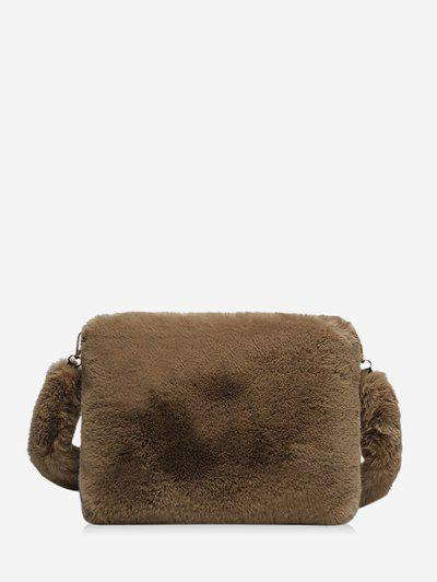 Faux Fur Rectangle Crossbody Bag - Coffee