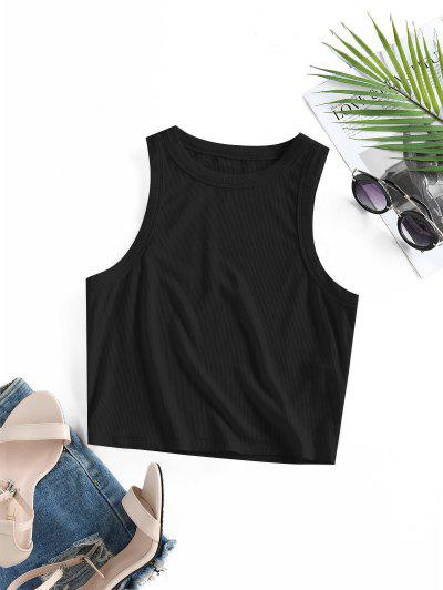 ZAFUL Ribbed Fitted Crop Tank Top - Black M