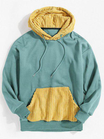 Corduroy Patchwork Colorblock Fleece Hoodie - Light Blue 2xl