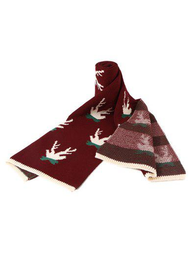 Christmas Colorblock Knitted Long Scarf - Red Wine