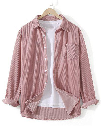 Front Pocket Solid Corduroy Shirt - Pink 3xl