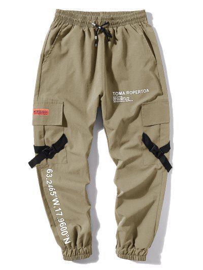 Letter Print Flap Pockets Cargo Jogger Pants - Light Khaki Xs