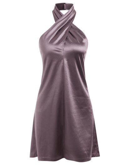 ZAFUL Satin Criss Cross Halter Party Dress - Concord M