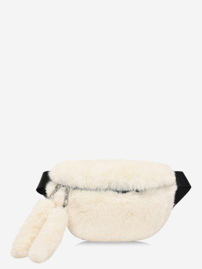 Faux Fur Solid Waist Chest Bag - White